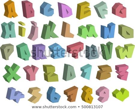 3D duvar yazısı renk yazı tipleri alfabe numara Stok fotoğraf © Melvin07