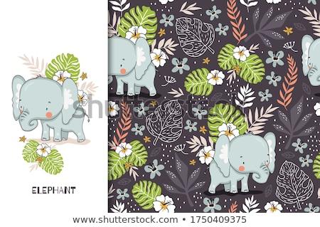 Aranyos elefánt réteges illusztráció könnyű Stock fotó © DzoniBeCool