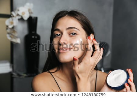 mulher · feliz · banheiro · feminino - foto stock © dash