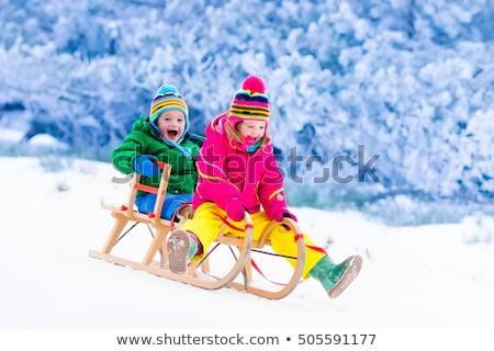 Bambino slitta neve illustrazione inverno ragazzo Foto d'archivio © adrenalina
