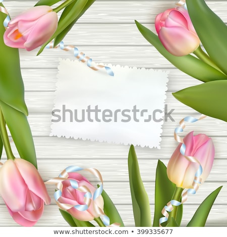 Tulips lying on a white textured table. EPS 10 Stock photo © beholdereye