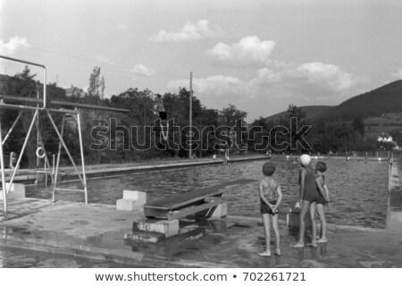 Stok fotoğraf: Siyah · kız · dalış · yüzme · havuzu · tatil · kadın