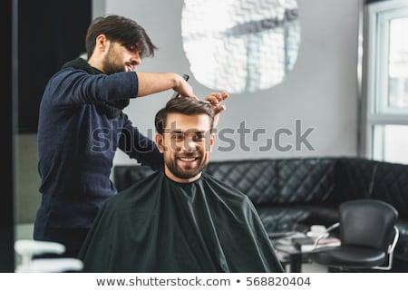 foto · joven · barba · peluquero · mentiras - foto stock © deandrobot