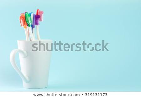 creme · dental · casal · limpar · rosa · fresco · juntos - foto stock © zerbor