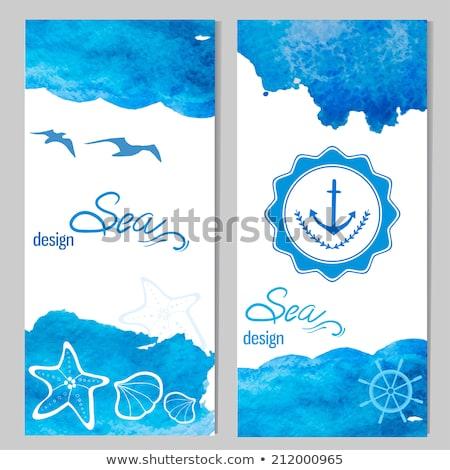Lata karty morza fale origami wody Zdjęcia stock © SwillSkill