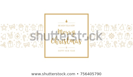 Christmas card with gold bells and holly Stock photo © fresh_5265954