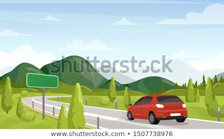 Background with Copyspace of Mountain Landscape and Clouds in Flat Vector Stock photo © Loud-Mango