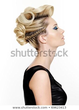 young beautiful blond female with creativity hairstyle stock photo © konradbak