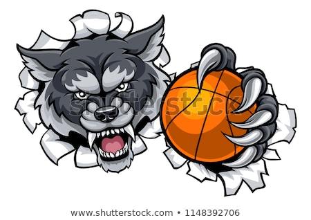 Wolf Animal Sports Mascot Breaking Background Stock photo © Krisdog