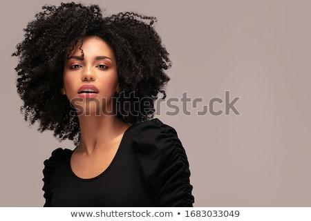 肖像 少女 アフロ ヘアスタイル 美 笑みを浮かべて ストックフォト © NeonShot