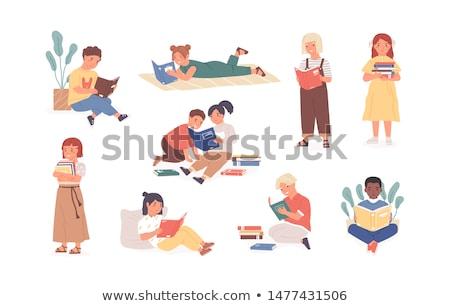 home · bibliotheek · illustratie · boeken · microscoop · wekker - stockfoto © biv