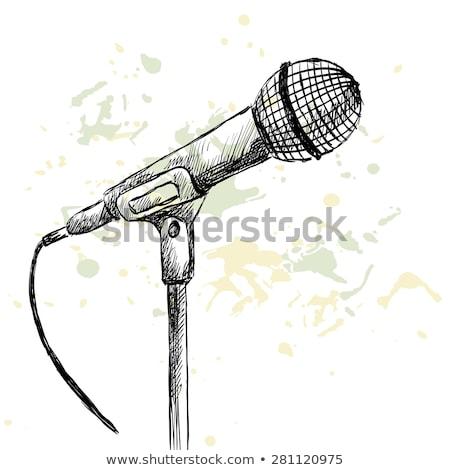 рисунок микрофона стороны вектора рисованной типографики Сток-фото © frescomovie