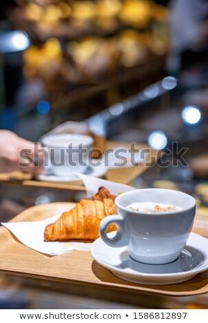 Finom cappucchino üveg tálca pult étterem Stock fotó © wavebreak_media