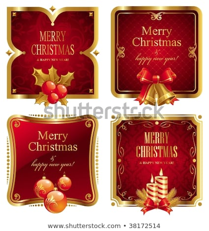 Christmas Labels Set With Red Bow And Holly Berry Stock photo © cammep