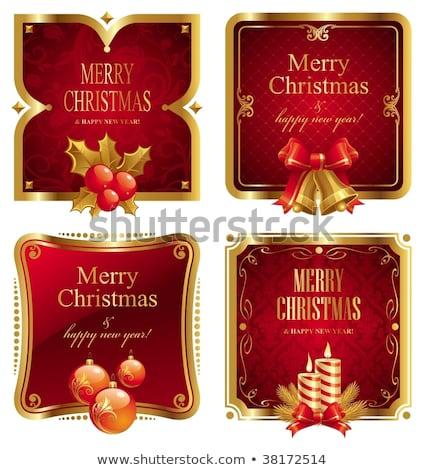 piros · zöld · klasszikus · karácsony · címkék · szett - stock fotó © cammep