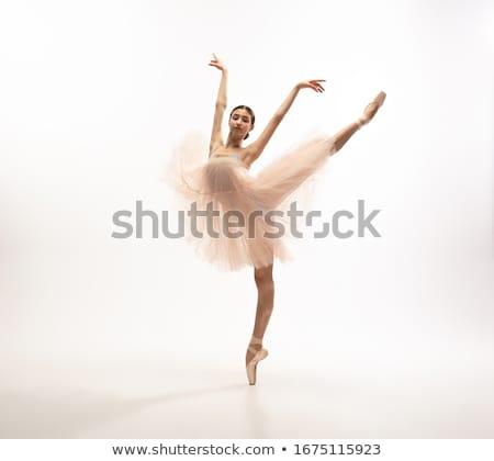 Genç güzel dansçı poz beyaz stüdyo Stok fotoğraf © julenochek