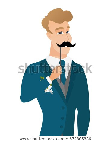 Cheerful groom with a fake mustache. Stock photo © RAStudio