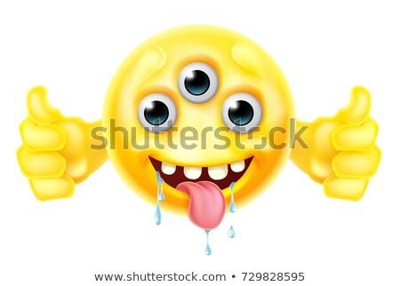 Alienígena monstro desenho animado bonitinho emoticon Foto stock © Krisdog