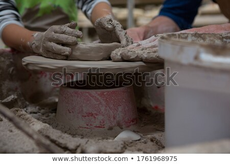 Homme fille argile atelier homme enfant Photo stock © wavebreak_media