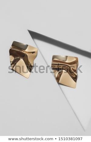 Dourado brincos vermelho caixa de presente dom anel Foto stock © SRNR