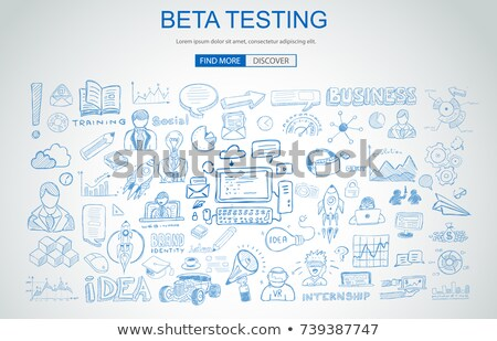 beta testing concept with business doodle design style online a stock photo © davidarts