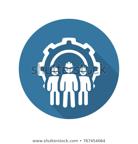 Engineering Team Icon. Three Men and Cog Wheel. Development Symbol. Stock photo © WaD