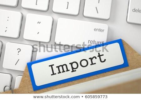 Akta kártya felirat import 3D számítógép billentyűzet Stock fotó © tashatuvango