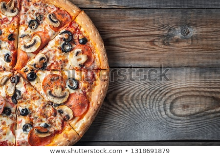 Pepperoni and Mushrooms Pizza Stock photo © zhekos