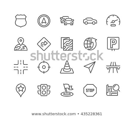 Route verkeersbord lijn icon hoeken web Stockfoto © RAStudio