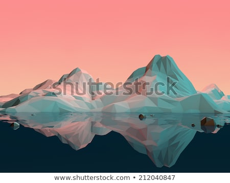 abstract blue mountain landscape in polygonal 3d illustration stock photo © tussik
