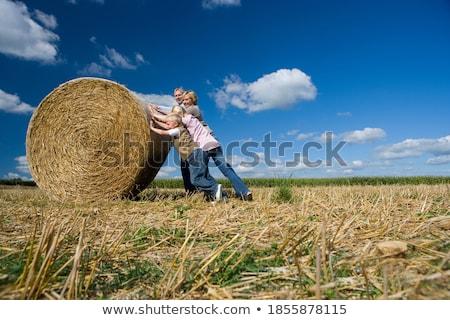 девушки женщину мальчика Постоянный сено тюк Сток-фото © IS2