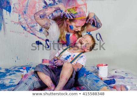 Anne çocuk kirli eller kadın plaj Stok fotoğraf © IS2
