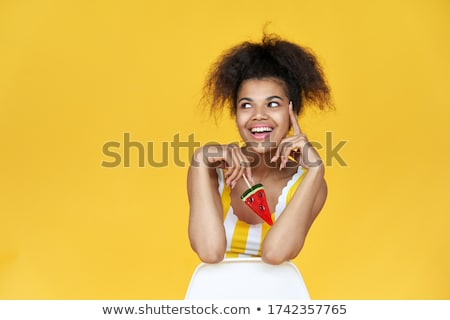 adolescent girl in chair with shopping Stock photo © IS2