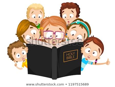 çocuk kız İncil açık kitap örnek küçük kız Stok fotoğraf © lenm