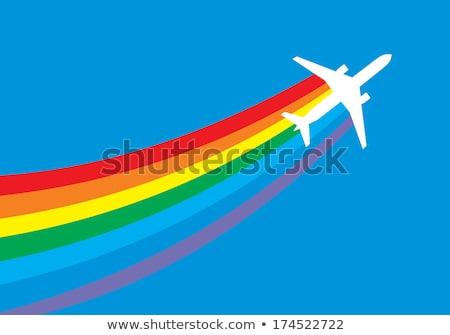 rainbow and trail plane stock photo © umbertoleporini