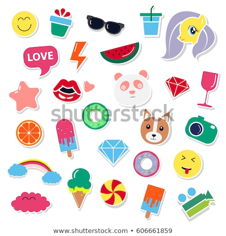 Cute roze donut sticker hart snoep Stockfoto © ikopylov