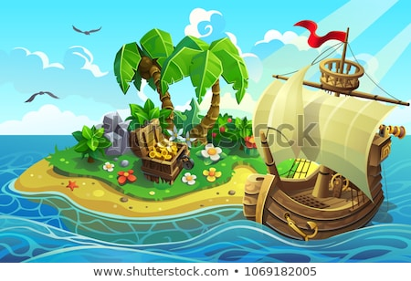 Tesouro ilha peito ouro ilustração dinheiro Foto stock © bluering