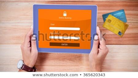 felismerhetetlen · nő · vásárlás · online · táblagép · papír - stock fotó © dolgachov
