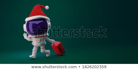 Colorful green luggage in travel banner stock photo © studioworkstock