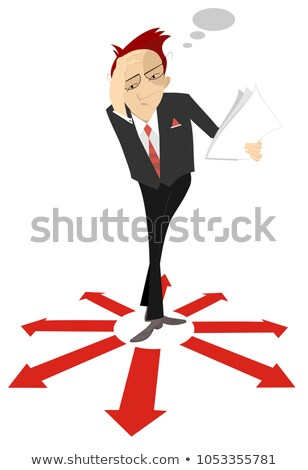 Pensive man or businessman holds papers and stays surrounded by arrow signs concept illustration   stock photo © tiKkraf69