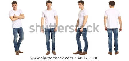 full length portrait of a happy smiling man in a white shirt stock photo © deandrobot