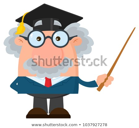 professor or scientist cartoon character with graduate cap holding a pointer stock photo © hittoon