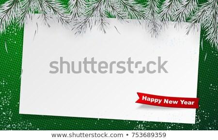 Nowy rok trykotowy szablon zielone plakat christmas Zdjęcia stock © MaryValery