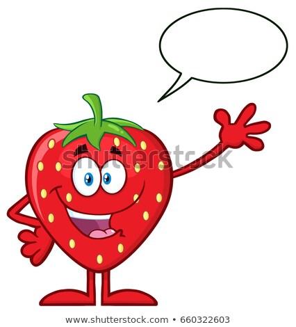 Szczęśliwy truskawki owoców maskotka cartoon charakter Zdjęcia stock © hittoon