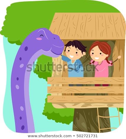 Kinderen dinosaurus illustratie reus paars boom Stockfoto © lenm