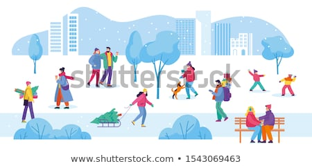 Boy and girl with presents in the snow Stock photo © IS2