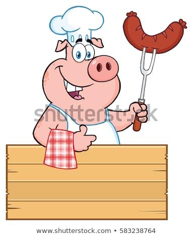 Сток-фото: улыбаясь · повар · свинья · мультфильм · талисман · характер