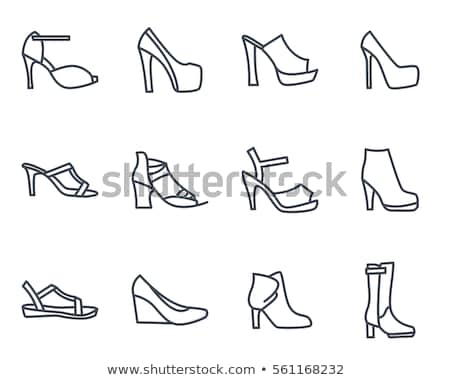 Shoes icon set. Fashion footwear boots silhouettes collection Stock photo © Terriana