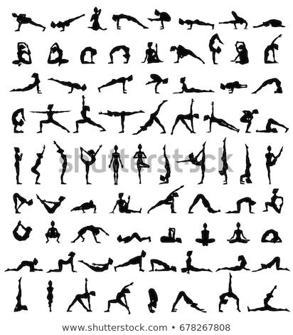 Pilates silhueta mulher ioga posição Foto stock © Krisdog