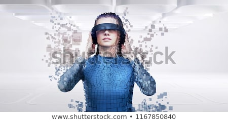 Digital composite of woman with a virtual reality simulator against digital gray pixelated 3d man Stock photo © wavebreak_media
